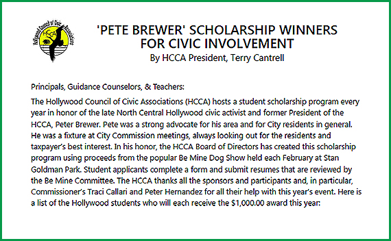News Article: 'Pete Brewer' 2020 Scholarship Winners